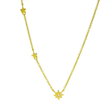 ZDN128-G  925 STERLING SILVER GOLD PLATED PLAIN SMALL STARS  DESIGN NECKLACE