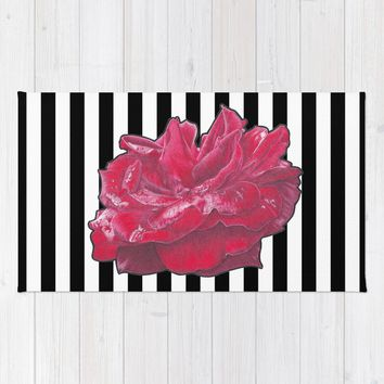 Red Rose on Stripes Rug by drawingsbylam