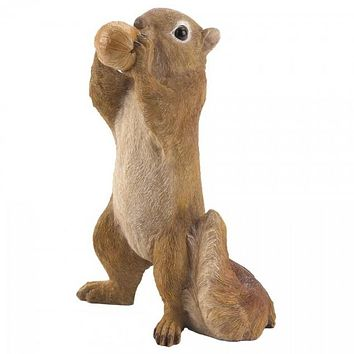 Standing Squirrel Eating Acorn Garden Figurine