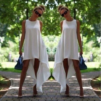 Hem Loose Chiffon Dress Asymetrical