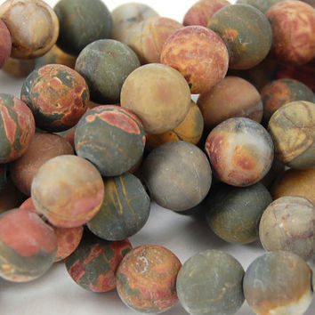 Matte Red Creek Jasper 8mm smooth round -15 inch strand