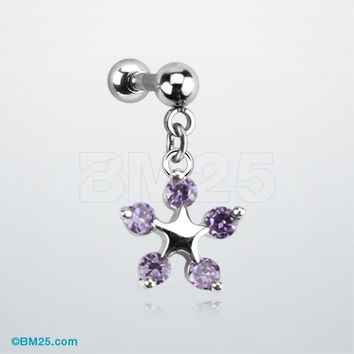 Flower Crystalline Dangle Tragus Barbell