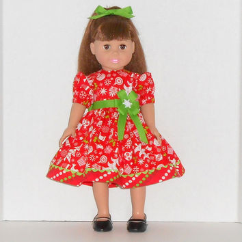 American Girl Doll Christmas Red Dress with Green Trim & Polka Dots