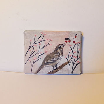 Miniature art - Tiny art - Bird painting - Nature art - Wildlife art - Little bird - Acrylic painting - Animal art - Wall art - Home decor