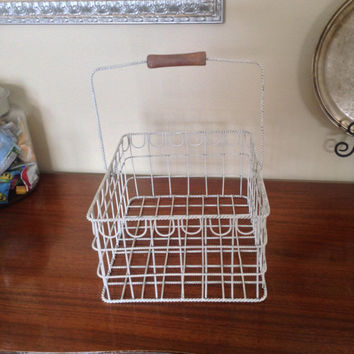 Large ivory rectangle wire basket with a wood handle. Organization home decor bottle display, holds 9 wine bottles