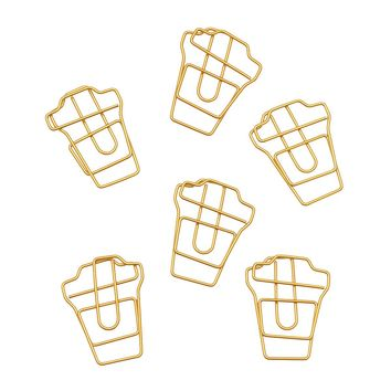 Gold Coffee Cup Paperclips