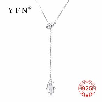 YFN 925 Sterling Silver Hamsa Hand Lucky Pendants Necklaces Hand Of Fatima Choker Nazar Evil Eye Fashion Jewelry For Women