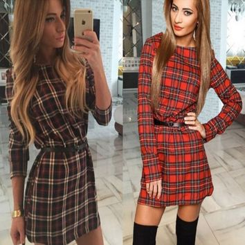 Women Sexy Check Shirt Mini Dress