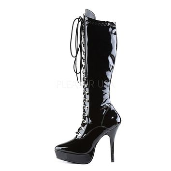 "Indulge 2024 Black Patent 5.25"" Stiletto High Heel Platform Lace Up Knee Boot"