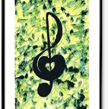 Watercolor music note wall decor print