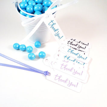 Thank You Gift Tags for Wedding Favors Bridal or Baby Shower Party Favor Hang Tags Customize Color - Set of 30