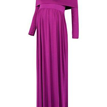 BlackCherry Womens Cowl Neck Ruched Shoulder Maternity Nursing Maxi Dress