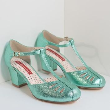 B.A.I.T. 1940s Style Sparkling Mint T-Strap Robbie Heels