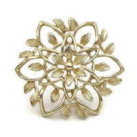 "Vintage 1960s Sarah Coventry Gold Tone Flower Brooch - ""Peta-Lure"" Design - Open Design Flower Pin - Signed Sarah Coventry Flower Brooch"