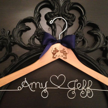 Mickey & Minnie Wedding Hanger, Disney Bridal Hanger, Wedding Hanger, Bride Hanger, Disney Wedding, Personalized Hanger, Mickey Hanger