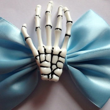 Icy Blue Skeleton Hand Hair Bow Hairbow Ice Frozen Satin Skull Goth Gothic Creepy Cute Kawaii Harajuku Lolita
