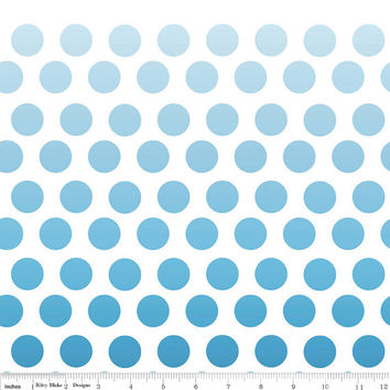 Ombre Blue Polka Dot Cotton Fabric by Riley Blake Designs, 1/2 Yard, more yardage available