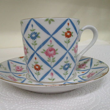 Vintage cup n saucer, Lefton China, hand painted china, blue diamond pattern, vintage tea cup, cup and saucer set, gold rim cup set, vintage