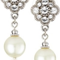 1928 Bridal Amore Simulated Pearl Drop Earrings
