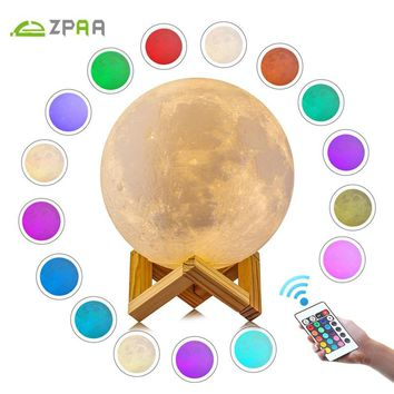Moon Lamp | Rechargeable | Touch Controlled and Dimmable | 16 Color or 2 Color