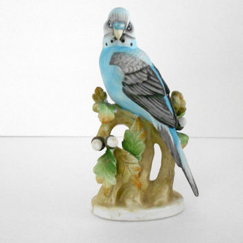 Lefton China Blue Parakeet Figurine KW464 1960