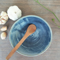 Blue handmade stoneware bowl, Ceramic serving dish