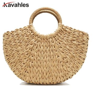 2018 Handmade Beach Bag Round Straw Totes Bag Large Bucket Summer Bags Women Natural Basket Handbag High Quality bag LW-70