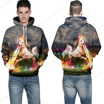 Cartoon Cat Ride Flaming Horse Skateboarding Hoodies Mens Autumn Pullover Hoody With Cap 3D Rainbow Spitfire Unicorn Sweatshirt