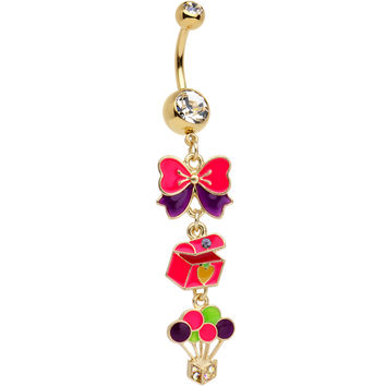 Gold Plated Stainless Steel Clear Gift of Christmas Dangle Belly Ring