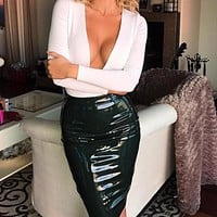Fashion Leather High Waist Tight Skirt