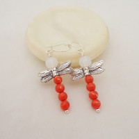 Coral and Opolite Dragonfly Earrings, Dragonfly Earrings, Sterling Silver