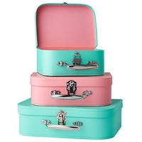 Bon Voyage Suitcase Set (Aqua/Pink) | The Land of Nod