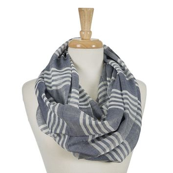 Navy Blue and White Striped Infinity Scarf