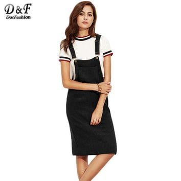 Black Ribbed With Pocket Slip Overall Dress Autumn Winter Women Sleeveless Basic Knee Length Dress
