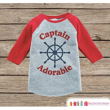 Humorous Boy's Outfit - Red Raglan Shirt - Nautical Funny Baby Boy's Onepiece or Tshirt - Novelty Raglan Tee for Baby Boys, Toddler, Infant