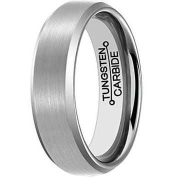 6mm Tungsten Carbide Ring Simple Style Wedding Engagement Silver Band Brushed Finish (Platinum)