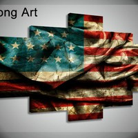 5 panel large HD printed usa canvas painting Retro American flag canvas prints home decor wall art pictures for living room