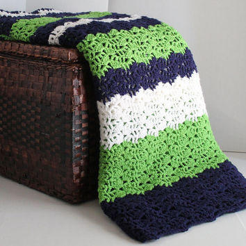 Afghan - Queen Size Lacy Ripple Crochet Blanket - Navy, Spring Green, and White