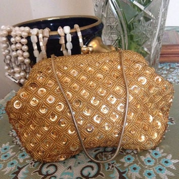 Sumer sale free shipping: Vintage Empire made with gold seed beads and sequins. Evening clutch Bag