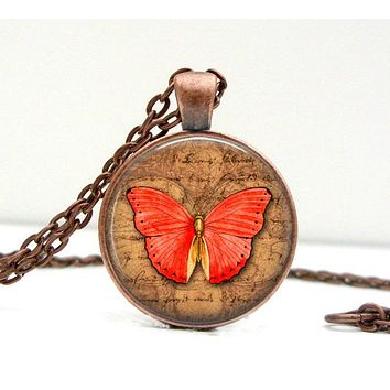 Butterfly Necklace: Red and Brown. Pendant. Charms. Art. Butterfly Jewelry. Copper Jewelry. Handmade Jewelry. Lizabettas (1400)