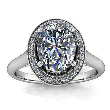 8x6 Oval Moissanite and Diamond Engagement Ring - Britta