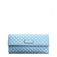 Gucci Womens Microguccissma Mineral Blue Leather Continental Wallet 449393