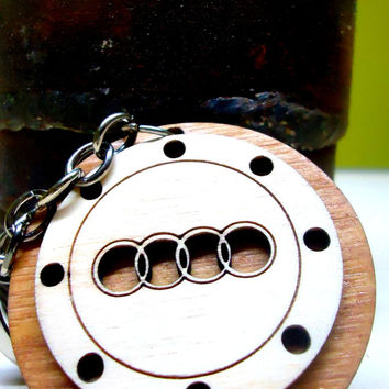 Wooden Key Chain for Audi owner Wooden Key Ring Handmade Key Fob for men women, Key fob, Keychain, Keyring, Key chain,car driver
