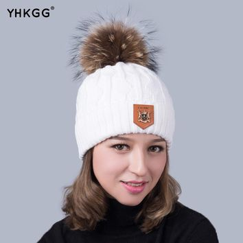 2017 Winter Brand New Colorful Snow Caps Wool Knitted Beanie Hat With Raccoon Fur Pom Poms For Women Men Hip Hop Cap  Add wool