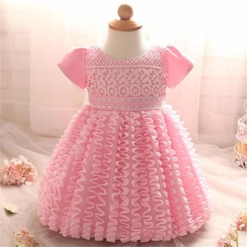 New Infant Baby Girl Dress Wedding Christening Gown Baptism Clothes For Newborn 1 Year Birthday Wedding Party Ruched Vestido