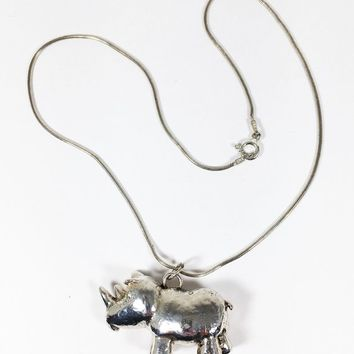 Sterling Silver Rhino Pendant Necklace Rhinoceros Charm Thin Snake Chain Signed ITALY 925 Vintage African Animal Figural