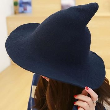 Women Autumn Winter Bucket Hat Wool Felt Witch Costume Tall Fedora Solid Color Knit Cap