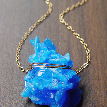 Blue Chalcanthite Necklace - Gold - Mineral Stone