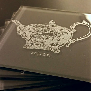 Vintage teapot Glass Coasters - personalized, corporate gifts, wedding favors