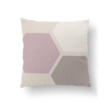 Pink Beige Pastel, Geometric Shapes, Home Decor, Cushion Cover, Hexagons Pillow, Simple Decor, Decorative Pillow, Mid Century, Throw Pillow